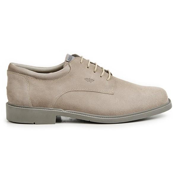 Sapato Calprado de Camurça Areia em Couro Legitimo