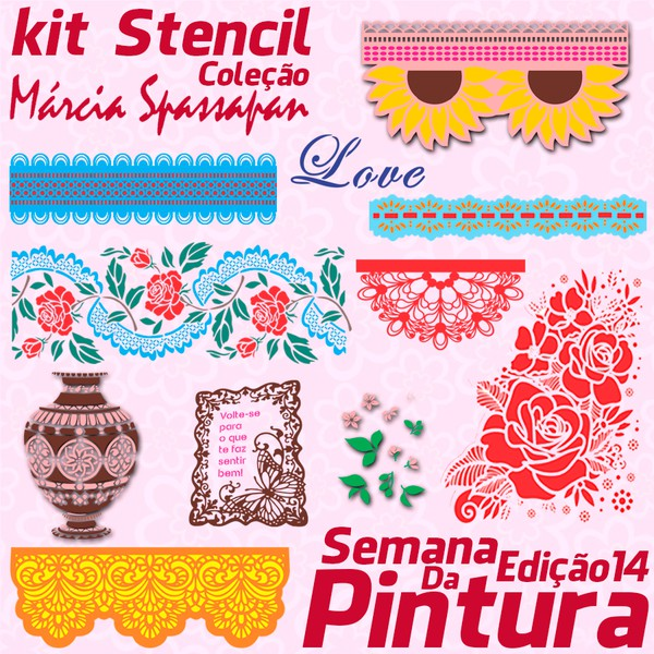 Kit Stencil Coleção Márcia Spassapan | Semana Da Pintura - Edição 14 + 3 Riscos A3