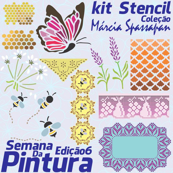Kit Stencil Coleção Márcia Spassapan | Semana Da Pintura - Edição 6