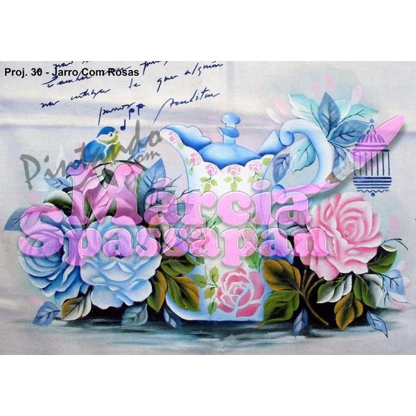 Projeto para Pintura com Foto e Risco Jarro com Rosas - Proj. 30