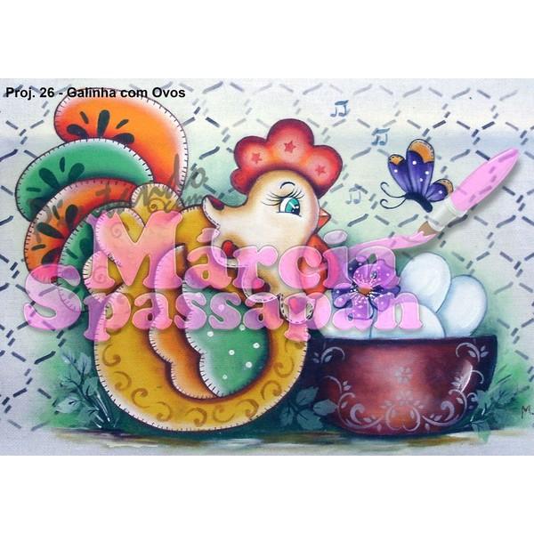 Projeto para Pintura com Foto e Risco Galinha com Ovos - Proj. 26