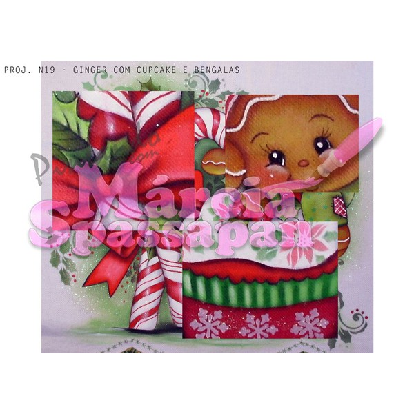 Projeto para Pintura com Foto e Risco Natal Proj. N19 - Ginger com Cupcake e Bengalas