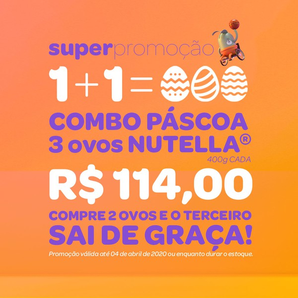 COMBO - Ovos Nutella - 400g cada - Pague 2 leve 3