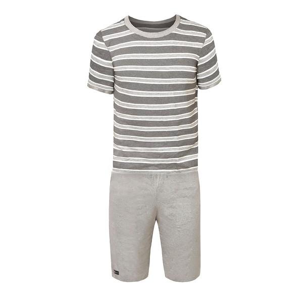 Pijama de verão masculino em malha listrada cinza.