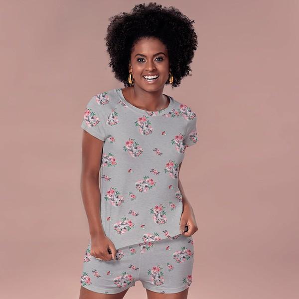 Pijama de verão em tecido de Viscose Elefantes.