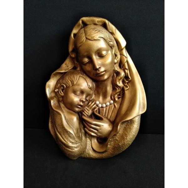 Quadro Com Imagem Nossa Senhora e Filho Dourada