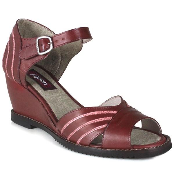 Sandália Em Couro Anabela Vermelha J.Gean Outlet