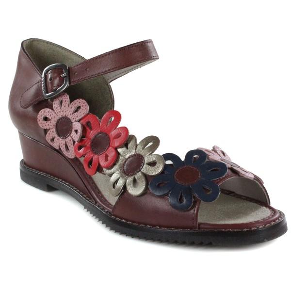 Sandália Em Couro Susan Anabela Médio Vermelha J.Gean