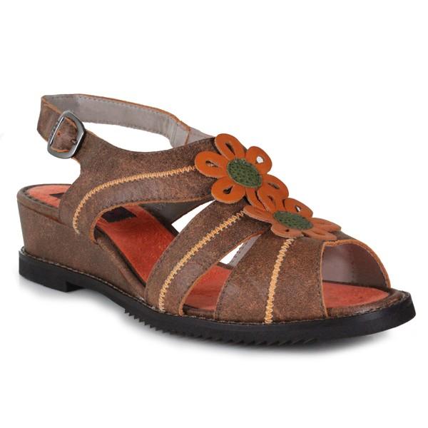 Sandália Em Couro Susan Anabela Médio Laranja J.Gean
