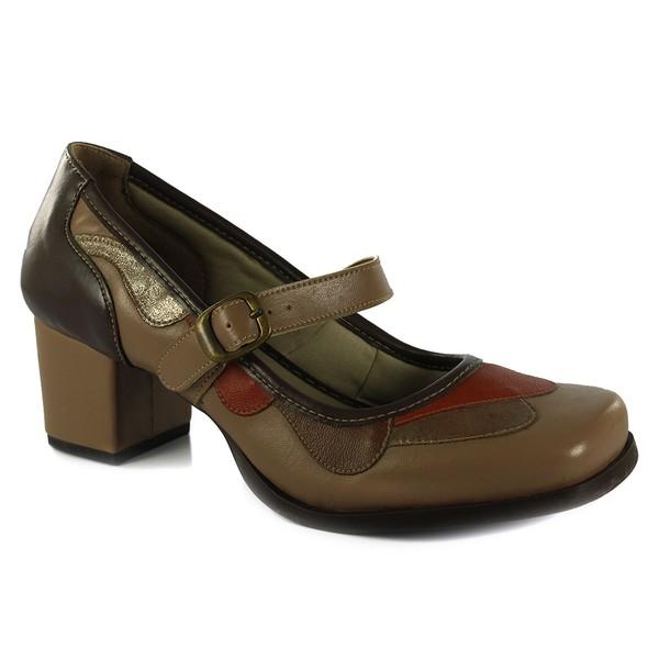Sapato Em Couro Taupe J.Gean AO0018