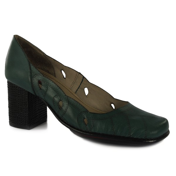 Sapato Galeany Alto Em Couro Esmeralda J.Gean