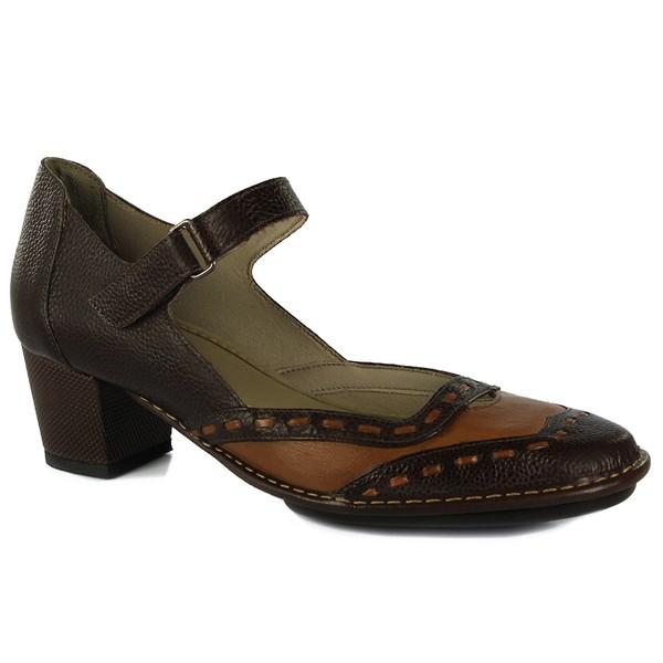 Sapato Ibizza Médio Em Couro Marrone J.Gean