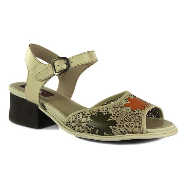 Sandália Em Couro Marfim J.Gean DS0002