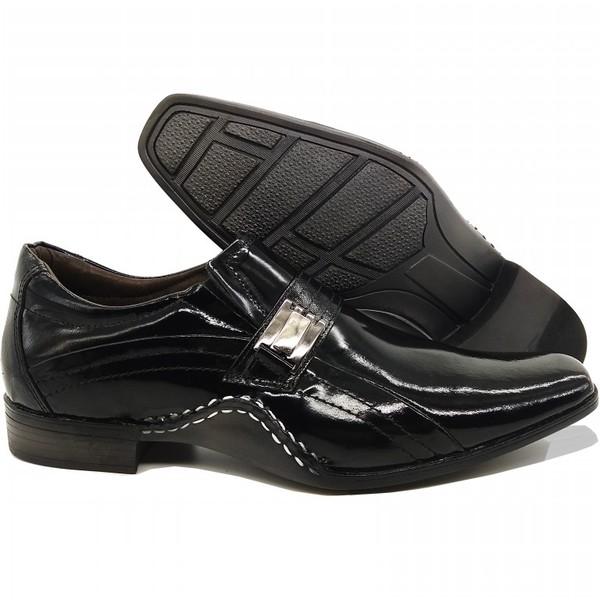 Sapato Social Masculino Em Couro Verniz Preto Kéffor Linha Detroit