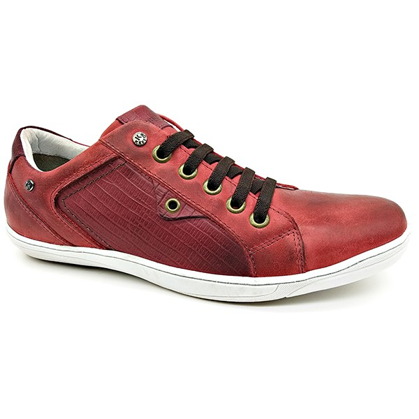 Calçado Masculino Sapatênis Em Couro Vermelho Kéffor Linha Fênix