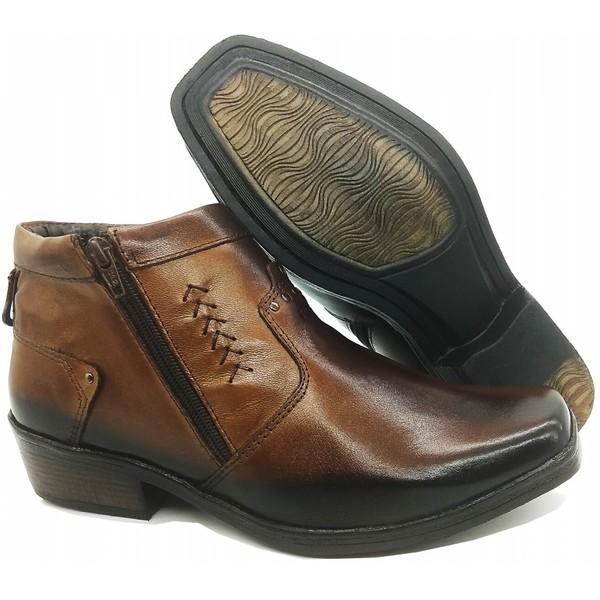 Calçado Bota Masculina Em Couro Kéffor Cor Castanho Linha Arizona Country