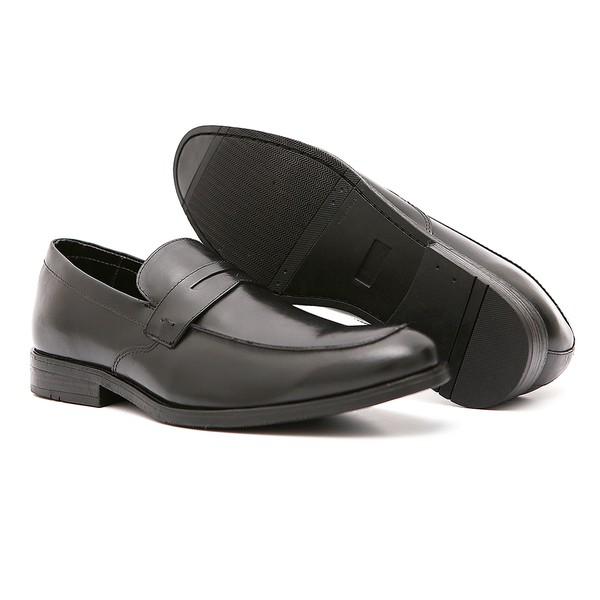 Sapato Casual Quebec Preto Em Couro