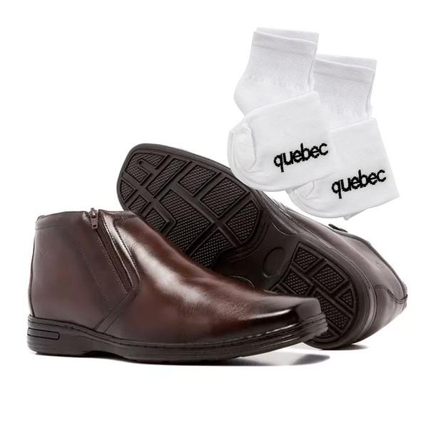 Sapato Social Quebec Denny Couro Café + 2 meias GRÁTIS