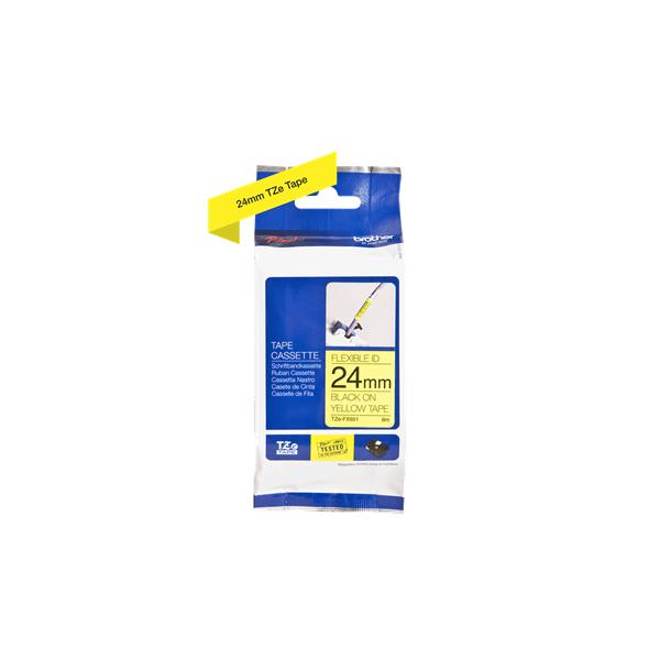 Fita flexivel tze-fx651 24mm preto/amarelo