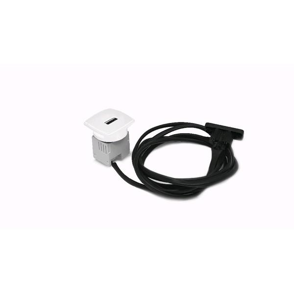 CAIXA MINI USB CHARGER 5V 2.1A C/ CABO DE ESPERA + CABO ALIM 1,5M - BRANCO