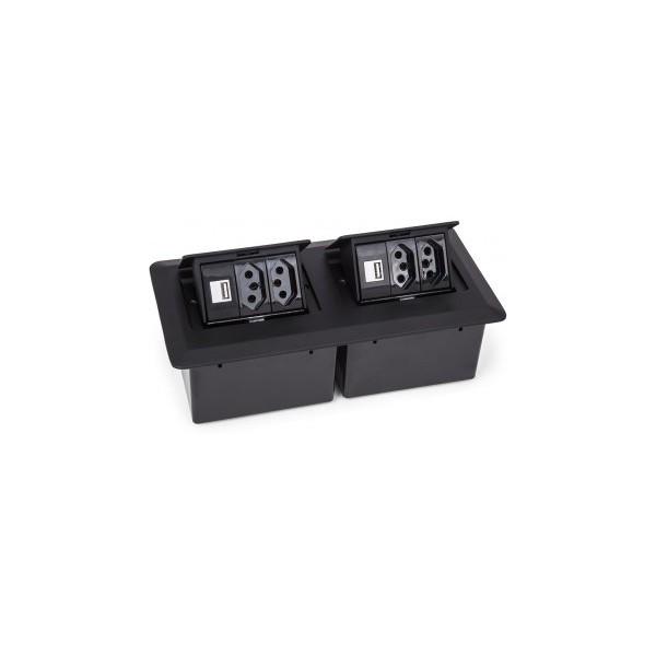 CAIXA DE MESA PRATIK C/ 4 TOMADA 10A + 2 USB (S/ CABO ALIM) - PRETO