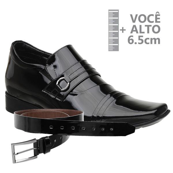 Sapato com Salto Interno Jota Pe Verniz Preto Grow Air + Cinto Envernizado