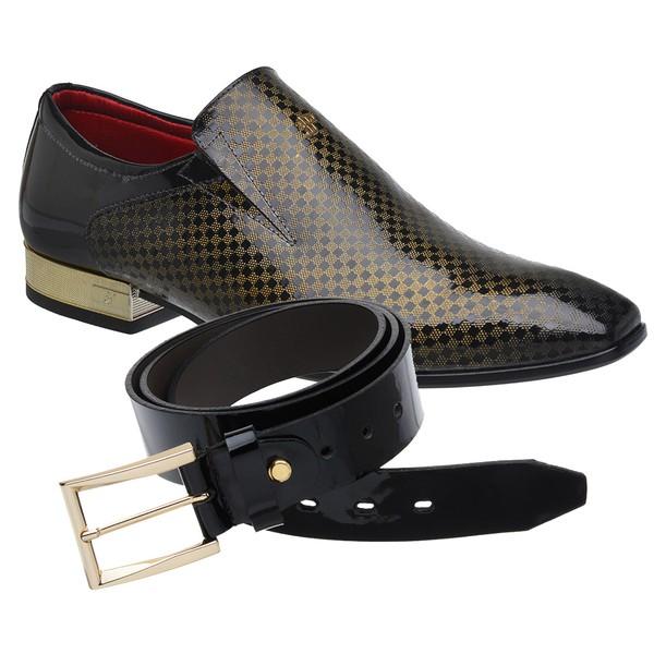 Sapato Social Jota Pe Verniz Preto/bronze Montblanc + Cinto Envernizado