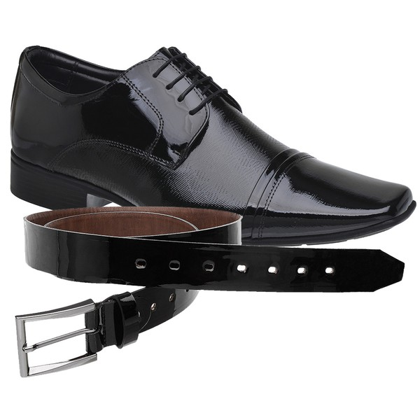 Sapato Social Jota Pe Verniz Preto Air Fillipo + Cinto Envernizado