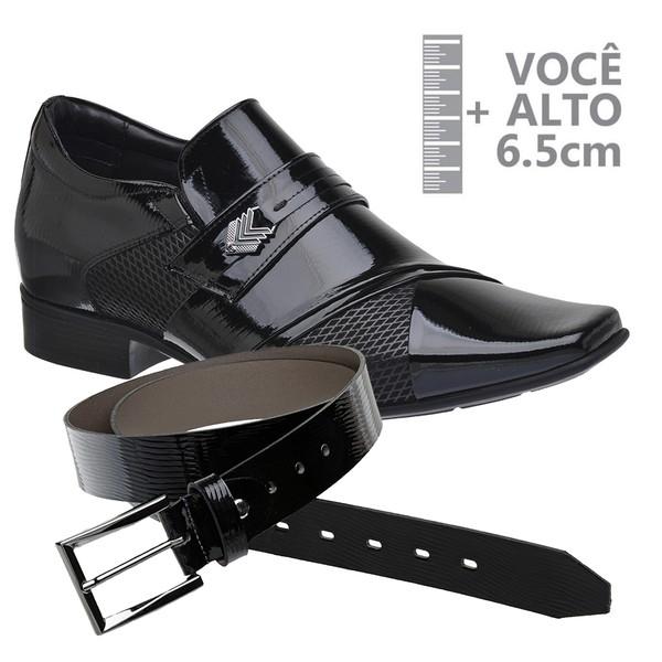 Sapato com Salto Interno Jota Pe Preto Grow Air Princ +Cinto de Verniz