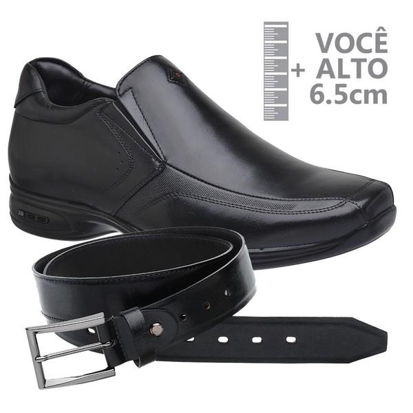 Sapato com Salto Interno Jota Pe Preto Grow Air Vision + Cinto de Couro