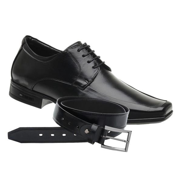 Sapato Jota Pe Preto Air 3D Executive + Cinto de Couro