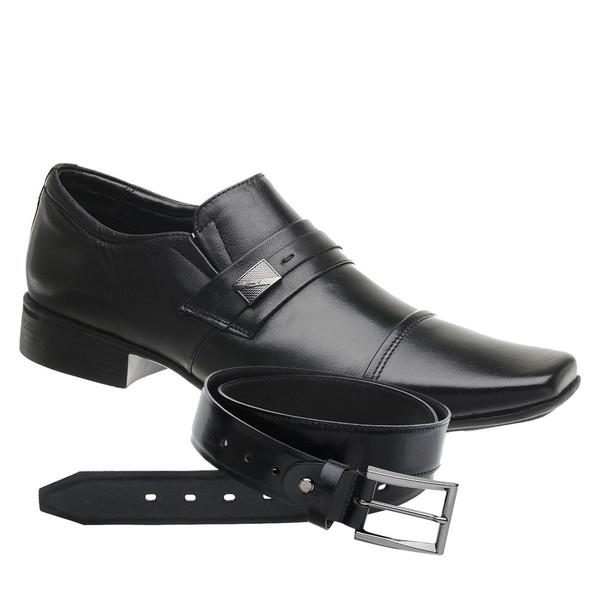 Sapato Jota Pe Preto Air Vinitti + Cinto de Couro