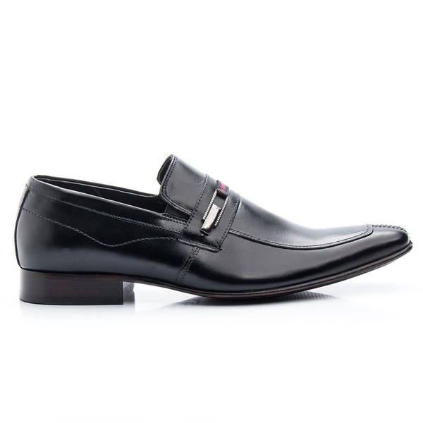 Sapato Social Preto de Couro com Fivela