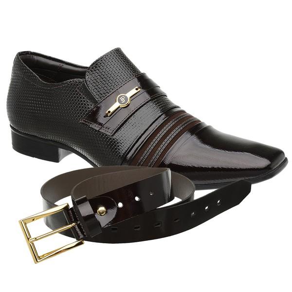 Sapato Social Jota Pe Verniz Café Boss Gold + Cinto Envernizado