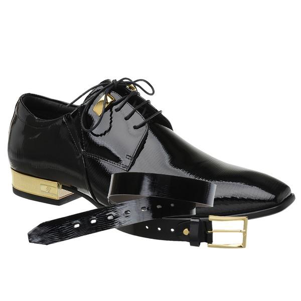 Sapato Social Jota Pe Verniz Preto Gold + Cinto de Verniz