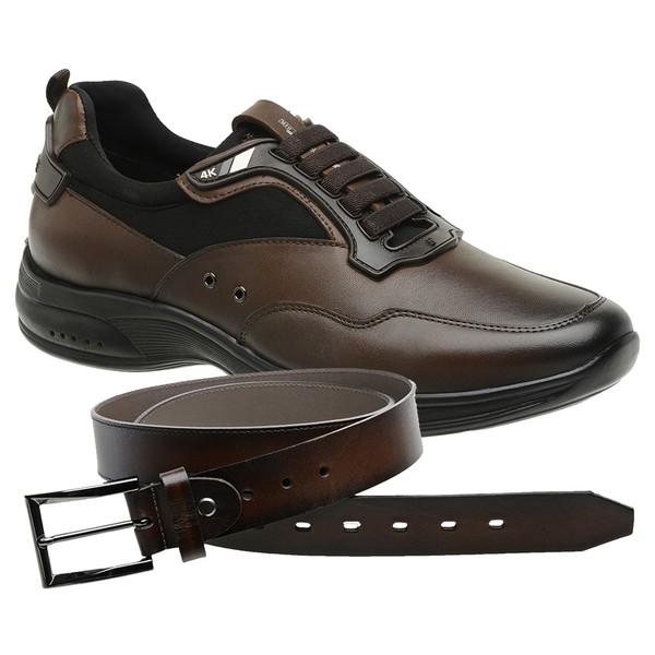 Sapato Jota Pe Marrom 4K Technology + Cinto de Couro