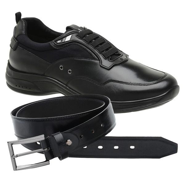 Sapato Jota Pe Preto 4K Technology + Cinto de Couro