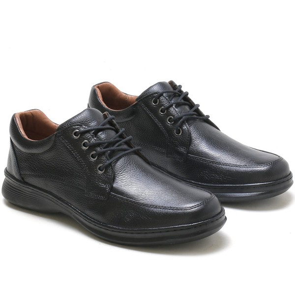 Sapato Social Preto Conforto em Couro