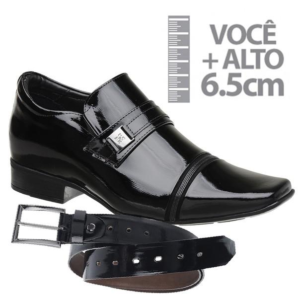 Sapato com Salto Interno Preto Jota Pe Grow Air Connar + Cinto de Verniz