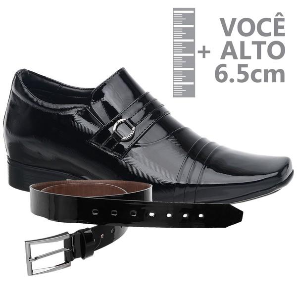 Sapato com Salto Interno Jota Pe Preto Grow Air + Cinto de Verniz