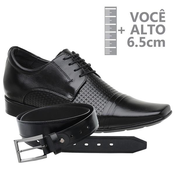 Sapato com Salto Interno Jota Pe Preto Grow Air Connar+Cinto de Couro