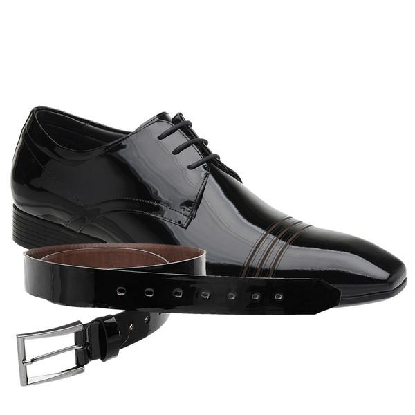 Sapato Social Jota Pe Verniz Preto New Man + Cinto de Verniz