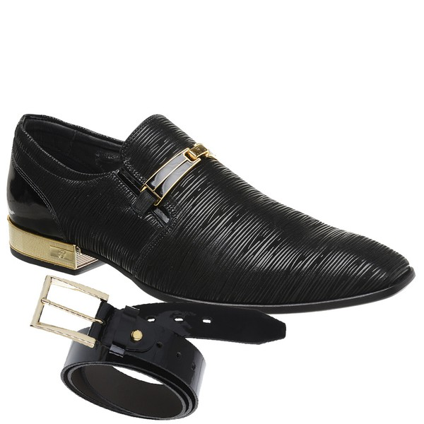 Sapato Social Jota Pe Preto Montblanc Gold + Cinto de Verniz