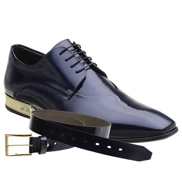 Sapato Social Jota Pe Purple Blue Kiev Montblanc Gold + Cinto Envernizado
