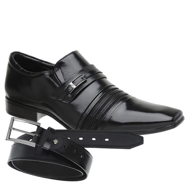 Sapato Social Jota Pe Preto Boss + Cinto de Couro