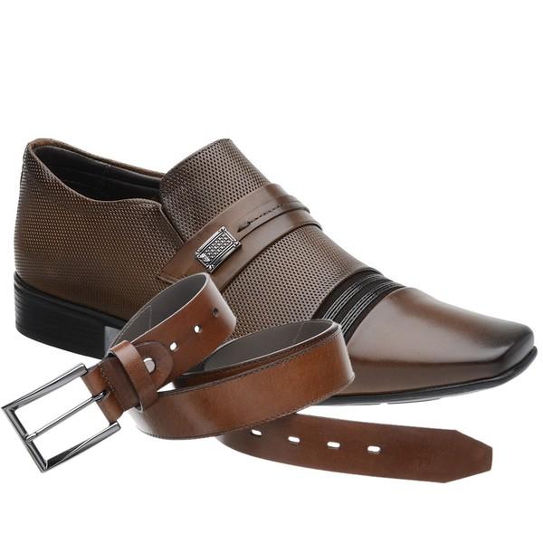Sapato Social Jota Pe Marrom Air Flexfeet + Cinto de Couro