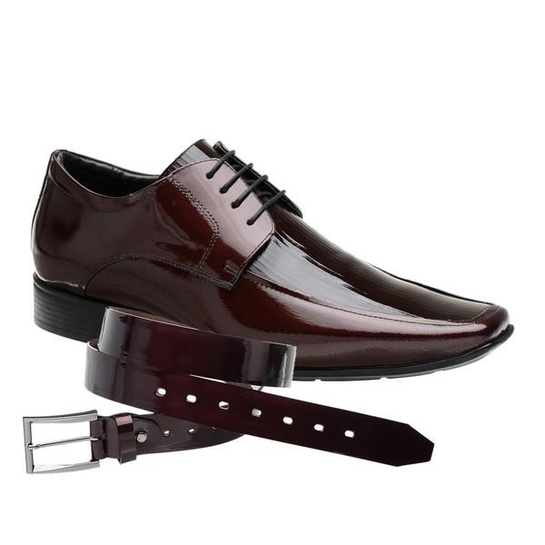 Sapato Social Jota Pe Verniz Vinho Air Prince + Cinto de Verniz