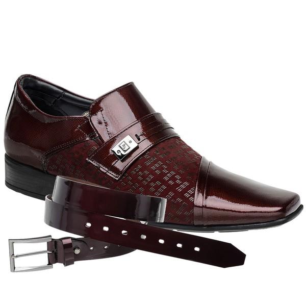 Sapato Social Vinho Air Prince + Cinto de Verniz