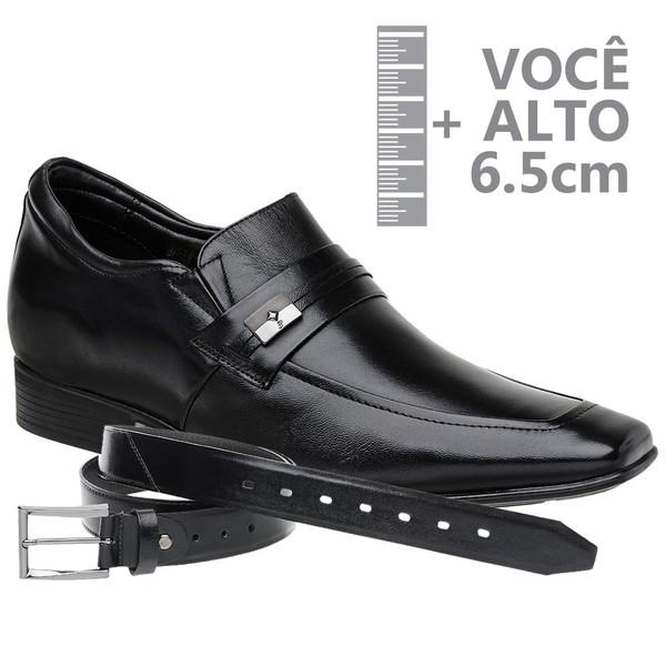 Sapato com Salto Interno Jota Pe Preto Air Bridge + Cinto De Couro