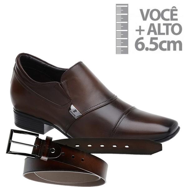 Sapato com Salto Interno Jota Pe Marrom Grow Air +Cinto de Couro